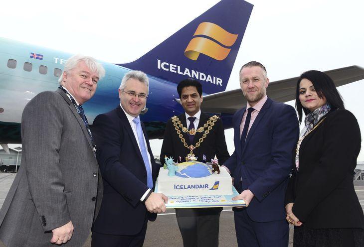Icelandair Inaugural Reykjavik Flight Arrives At Birmingham Airport