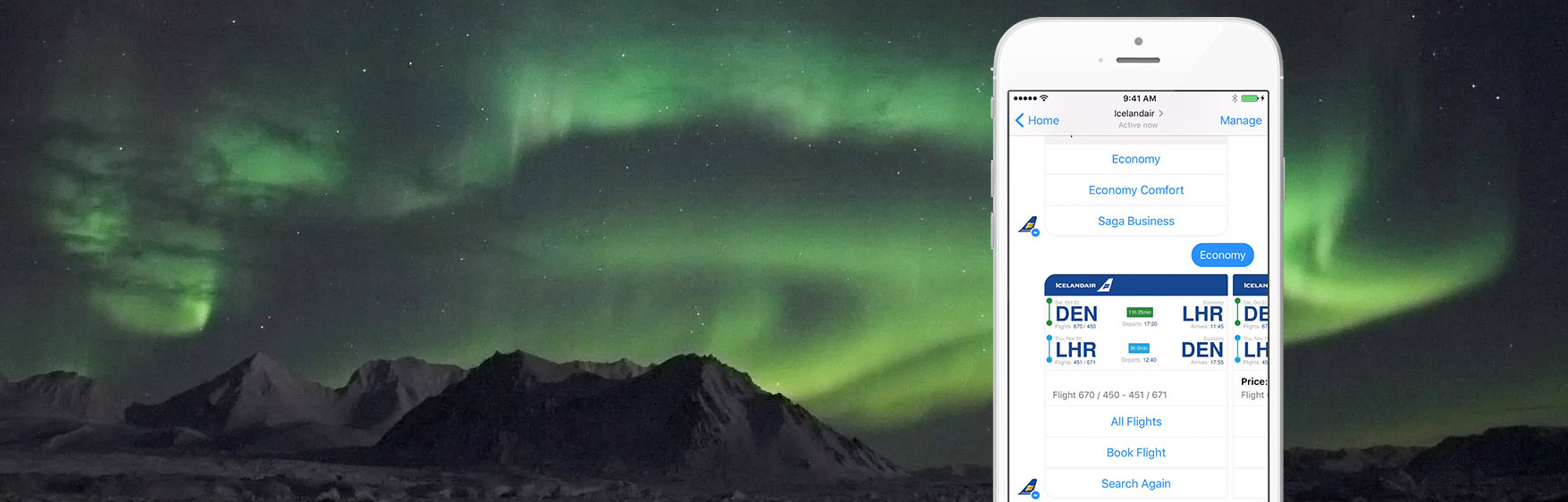 Icelandair's Facebook Messenger