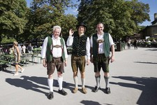Three men in lederhosen at Oktoberfest